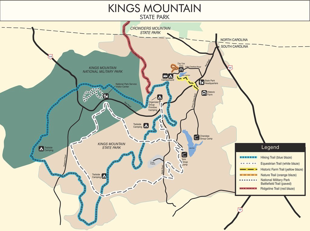 Kings Mountain State Park - Maplets in South Carolina State Parks Map