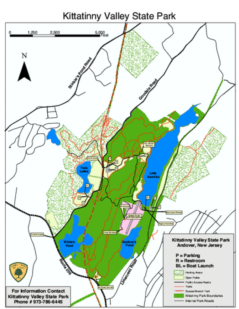 Kittatinny Valley State Park Trail Map - Andover Nj • Mappery in Nj State Parks Map