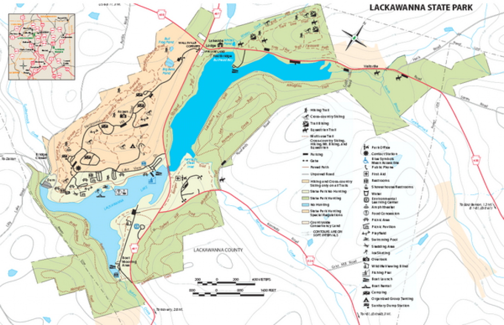 Lackawanna State Park Map - Dalton Pa 18414-9785 • Mappery throughout Pennsylvania State Parks Camping Map