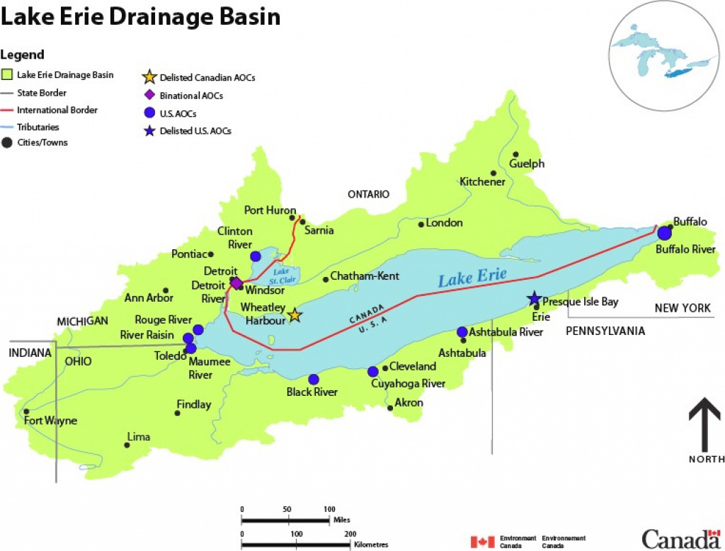 Lake Erie Drainage Basin Map - Canada.ca with Map Lake Erie Surrounding States