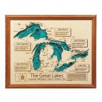 Lake Topography Art | Hand Crafted Lake Map Topography Art Throughout Map Lake Erie Surrounding States