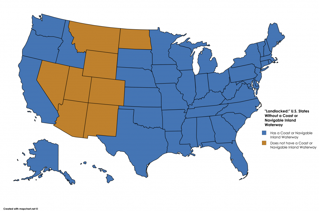 "Landlocked:"" U.s. States Without A Coast Or Navigable Inland with Navigable Waters Of The United States Map"