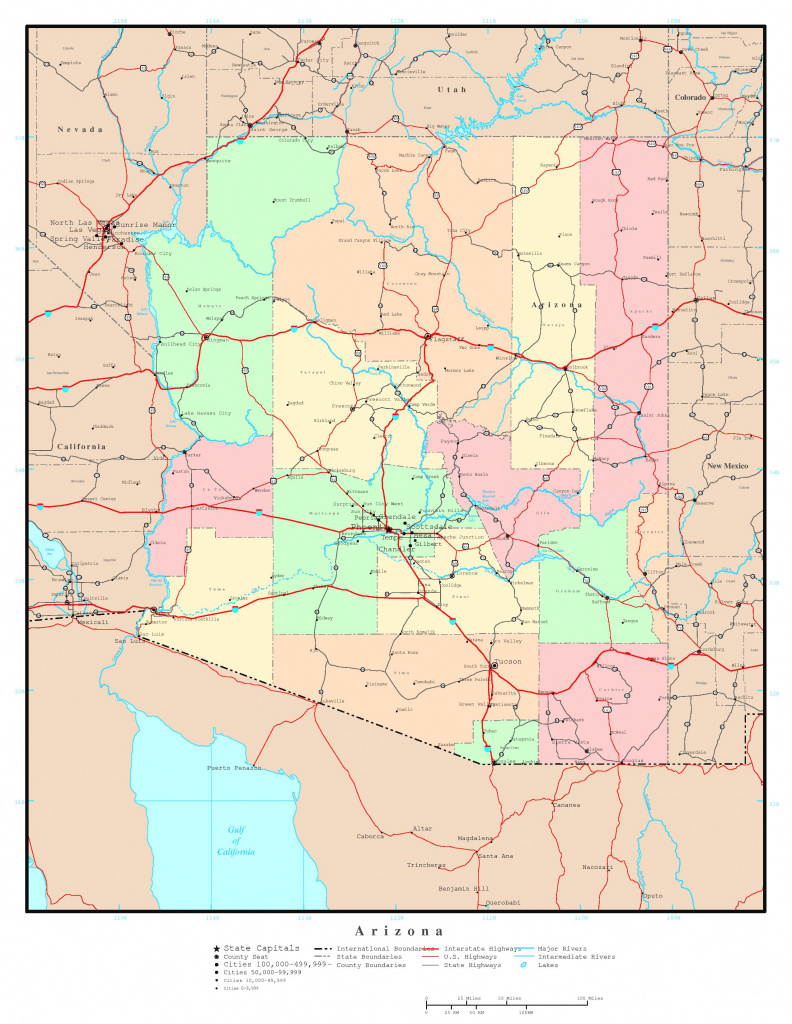 Large Detailed Administrative Map Of Arizona State With Roads within Arizona State Map With Major Cities