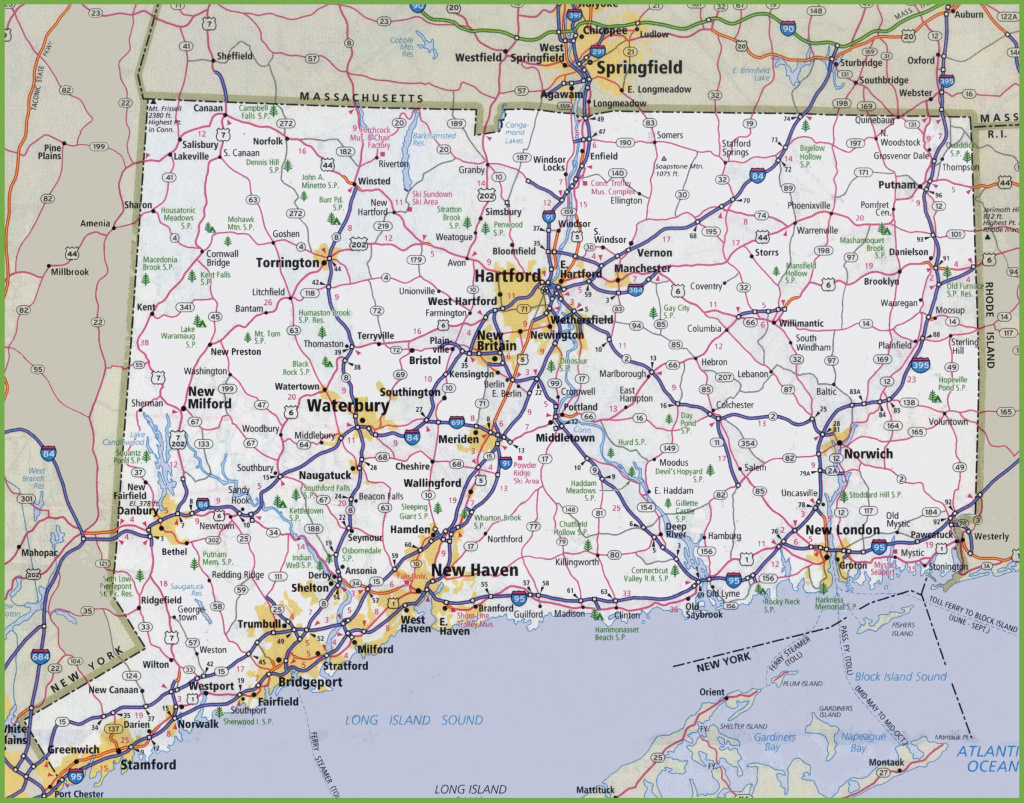 Large Detailed Map Of Connecticut With Cities And Towns with regard to State Of Ct Map With Towns