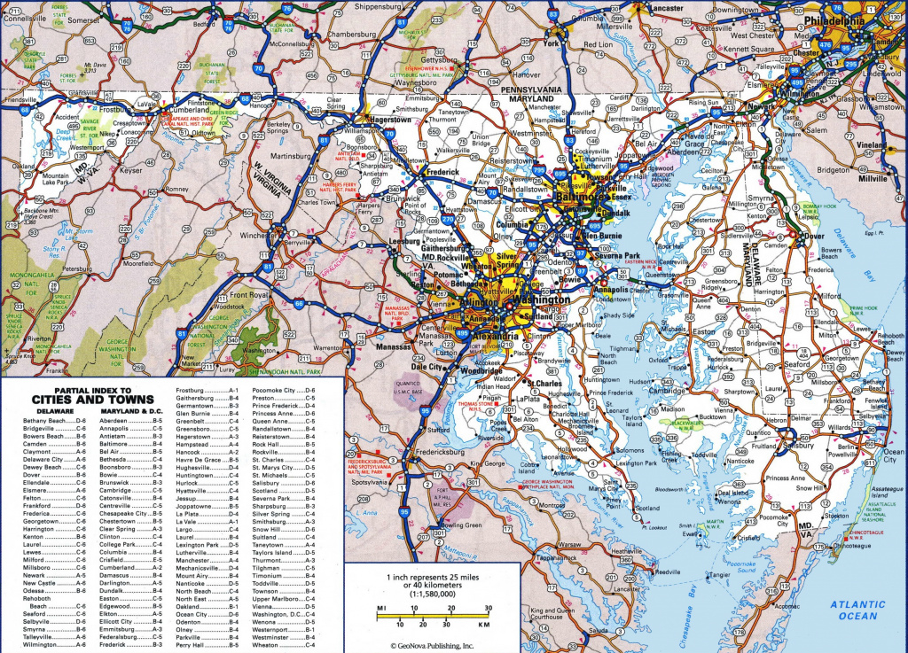 Large Detailed Map Of Maryland With Cities And Towns with regard to Map Of Maryland And Surrounding States