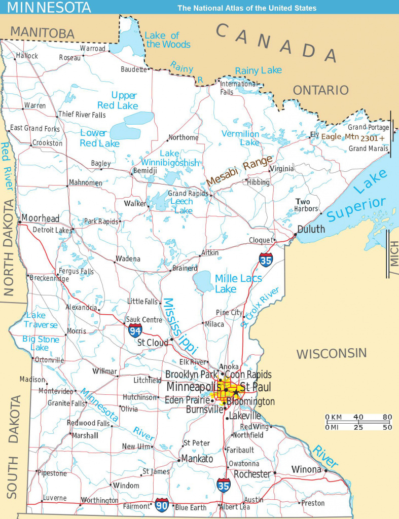 Large Detailed Map Of Minnesota State With Roads And Major Cities throughout Mn State Map Of Cities