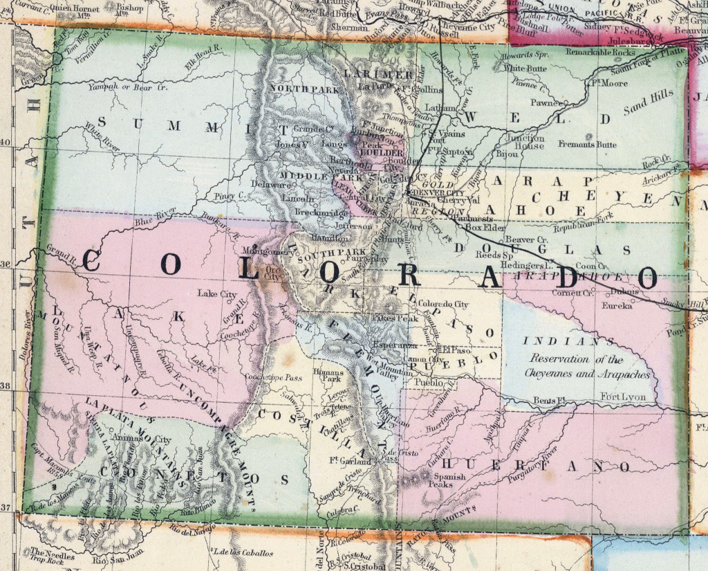 Large Detailed Old Map Of Colorado State - 1870 | Colorado State with regard to Picture Of Colorado State Map