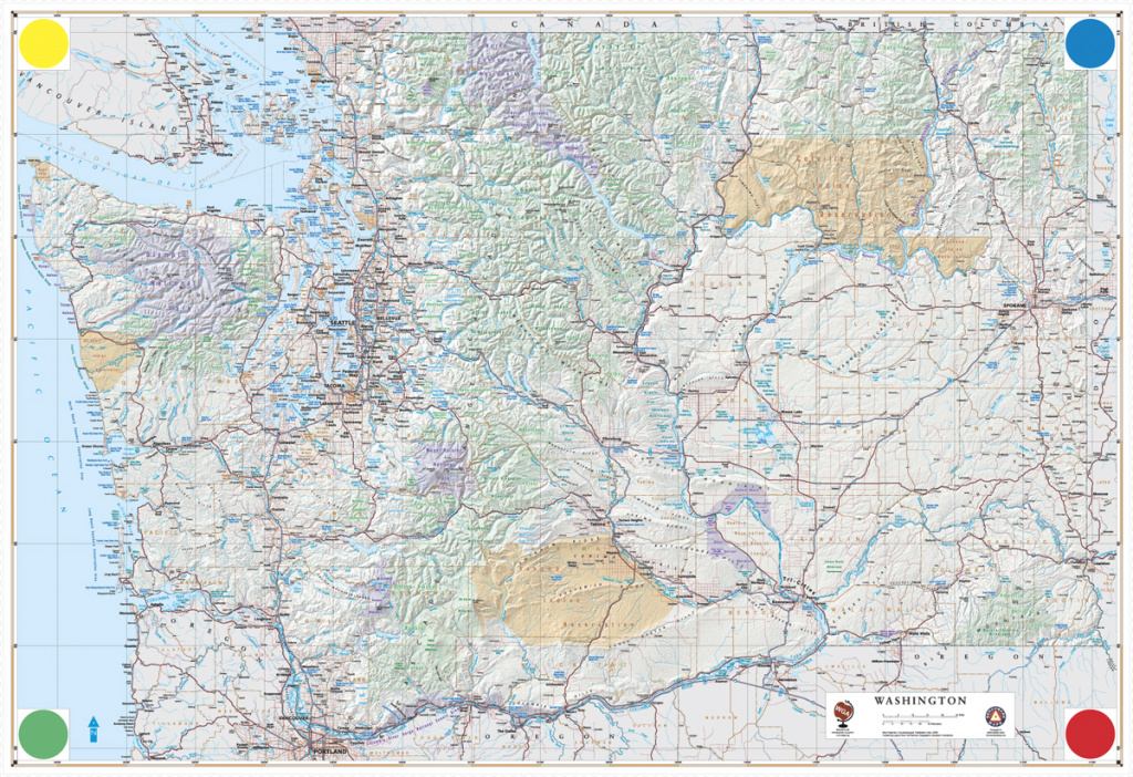 Large Detailed Physical And Road Map Of Washington. Washington Large throughout Detailed Road Map Of Washington State