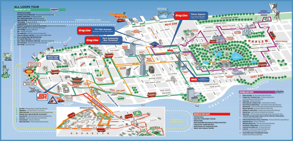 Large Detailed Printable Tourist Attractions Map Of Manhattan, New with New York State Tourism Map
