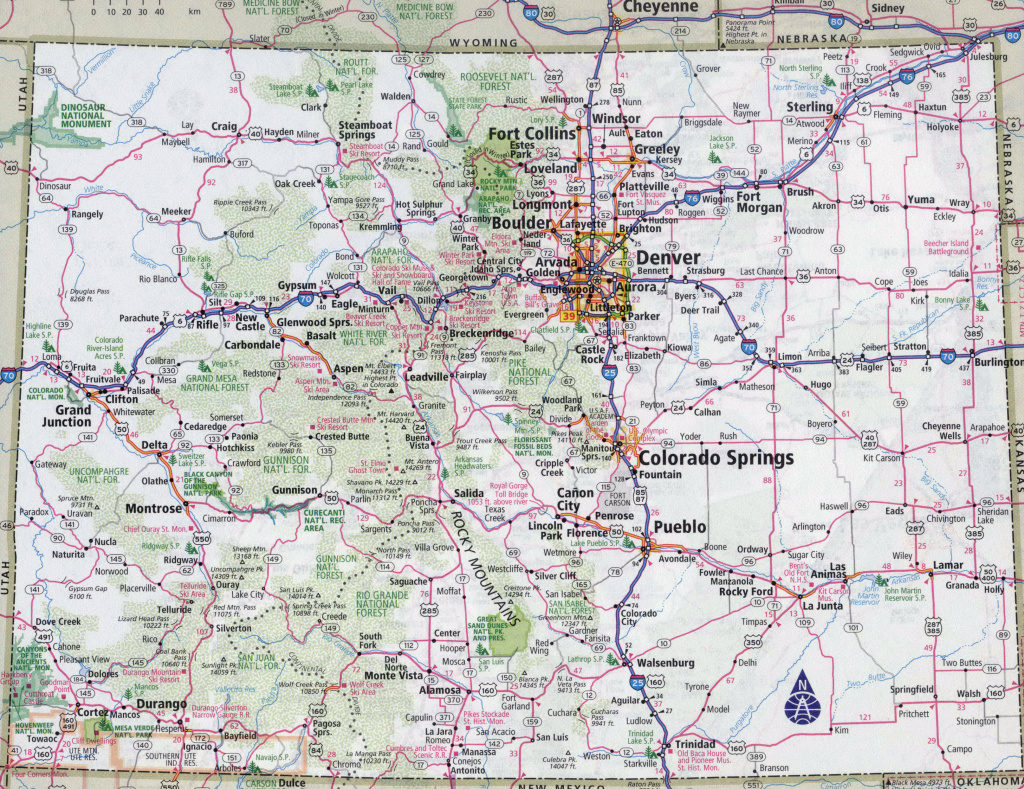 Large Detailed Roads And Highways Map Of Colorado State With All with regard to Colorado State Map With Counties And Cities
