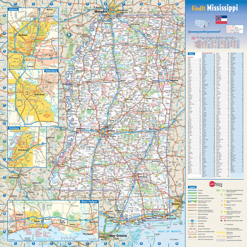Large Detailed Roads And Highways Map Of Mississippi State With with Mississippi State Parks Map