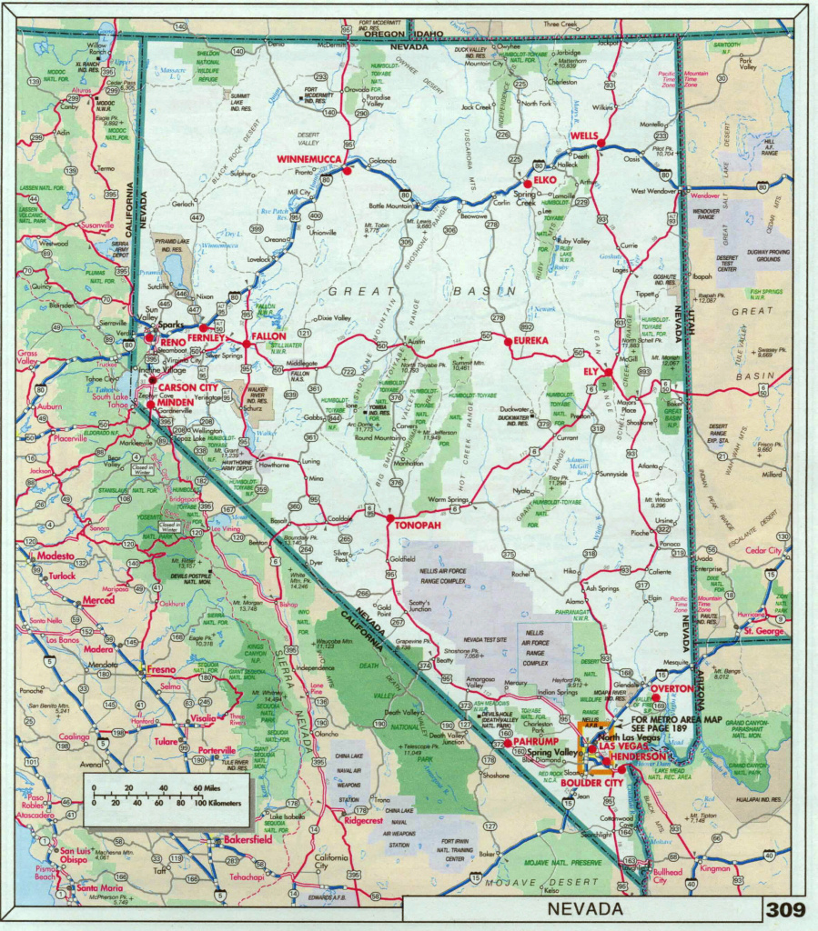 Large Detailed Roads And Highways Map Of Nevada State With National intended for Nevada State Parks Map