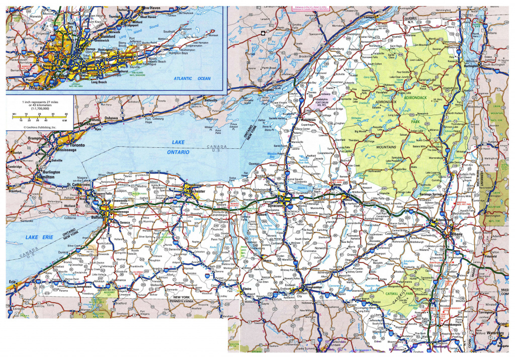 Large Detailed Roads And Highways Map Of New York State With All inside New York State Map Pdf