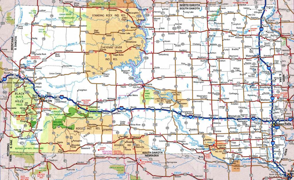 Large Detailed Roads And Highways Map Of South Dakota With National intended for South Dakota State Parks Map