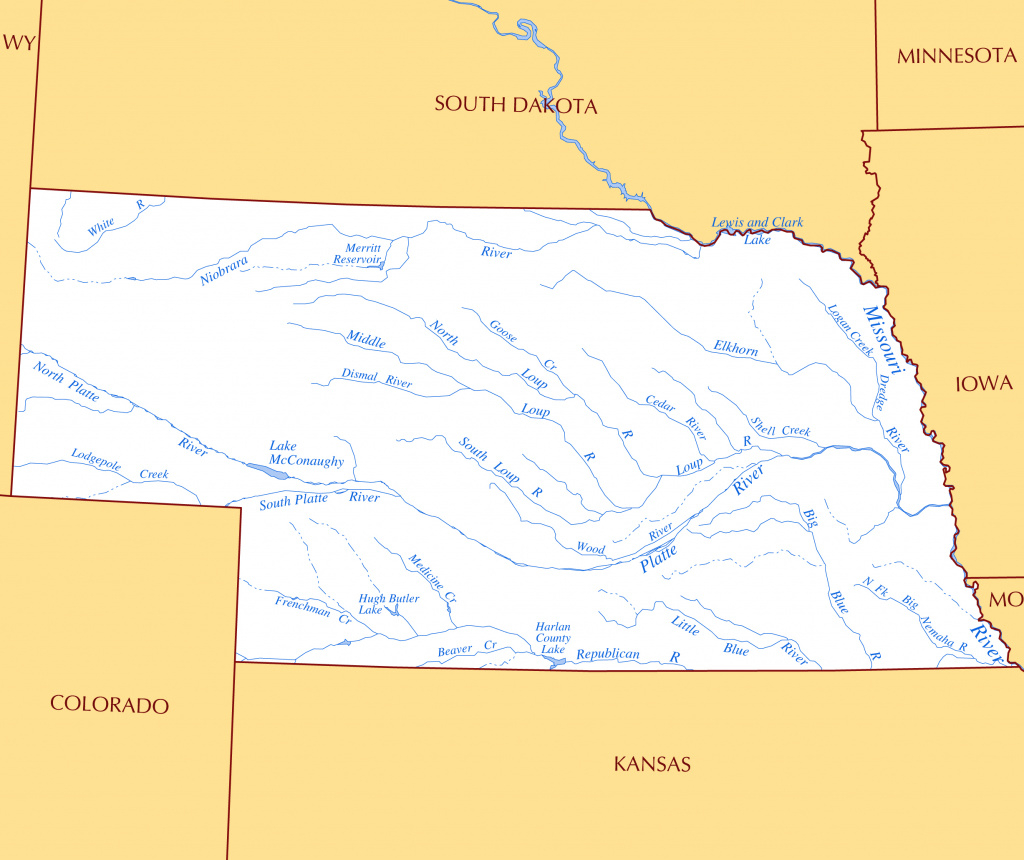 Large Rivers And Lakes Map Of Nebraska State | Nebraska State | Usa pertaining to Map Of Nebraska And Surrounding States