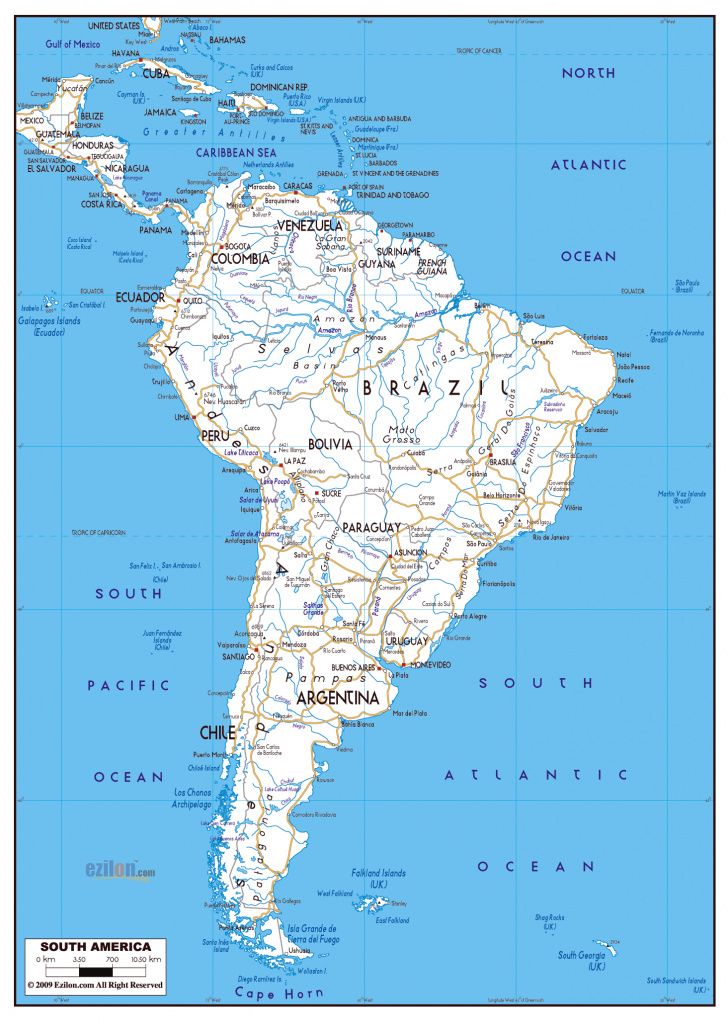 Large Road Map Of South America With Major Cities | South America with Road Map Of The United States With Major Cities