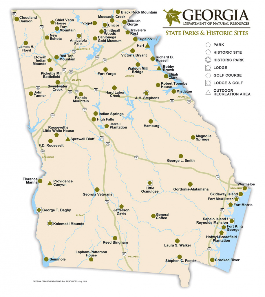 Large State Parks And Historic Sites Map Of Georgia | Vidiani intended for Georgia State Parks Map