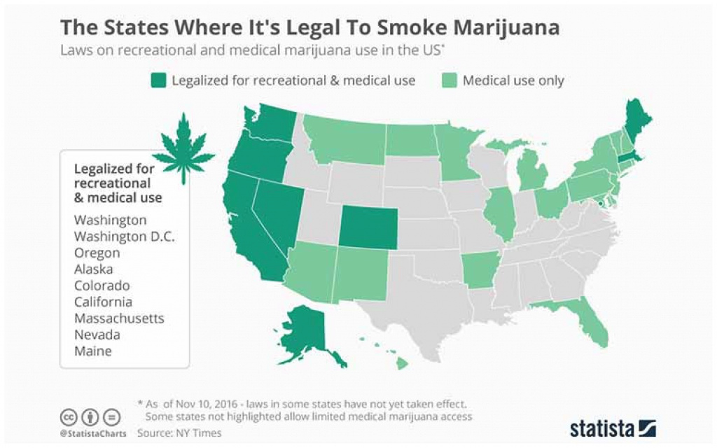 Legal Marijuana States Map 2017 | Galloforoakland throughout Legal Marijuana States Map 2017