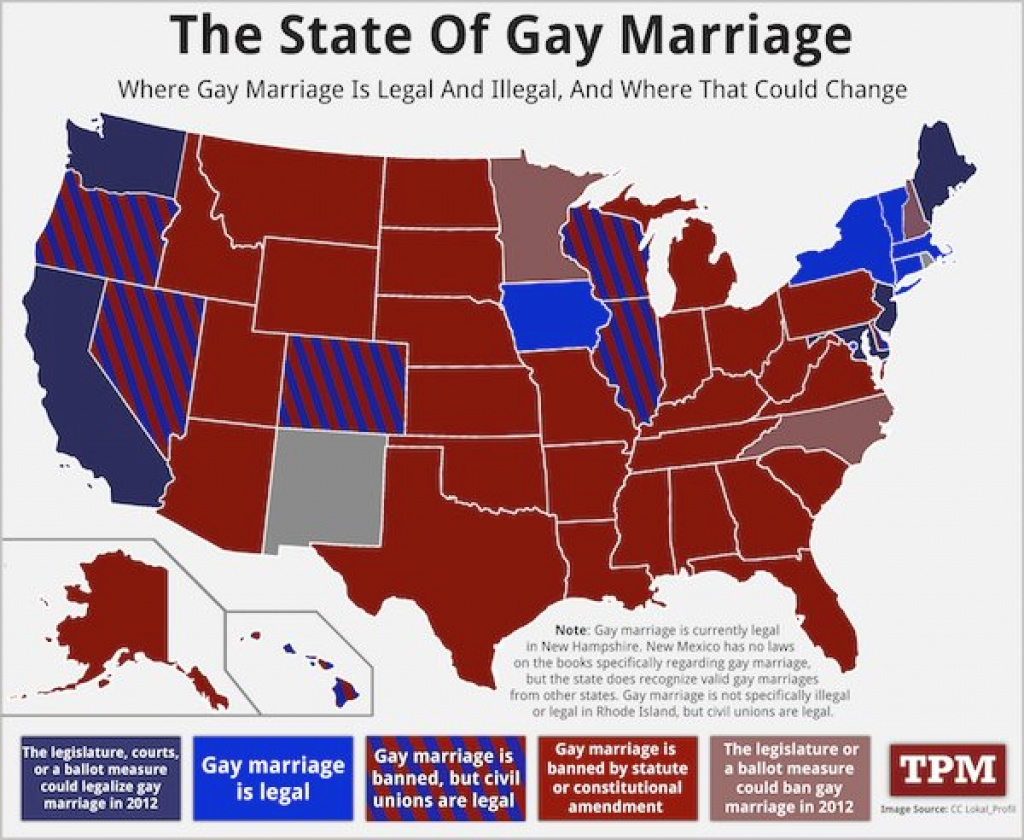 Legal Status Of Same-Sex Marriage,state - Sociological Images intended for Map Of States Legalized Gay Marriage