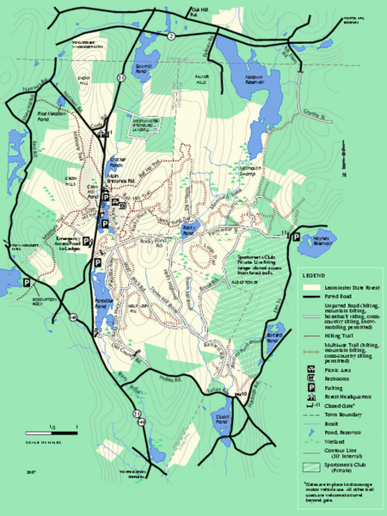 Leominster State Forest Trail Map - Leominster Ma • Mappery in Townsend State Forest Trail Map