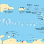 Lesser Antilles Political Map. The Caribbees With Haiti, The For Dominican Republic Map United States