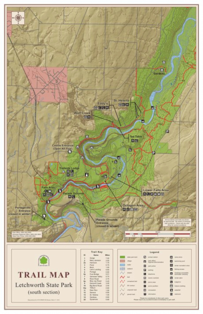 Letchworth State Park Trail Map South - New York State Parks regarding Letchworth State Park Trail Map