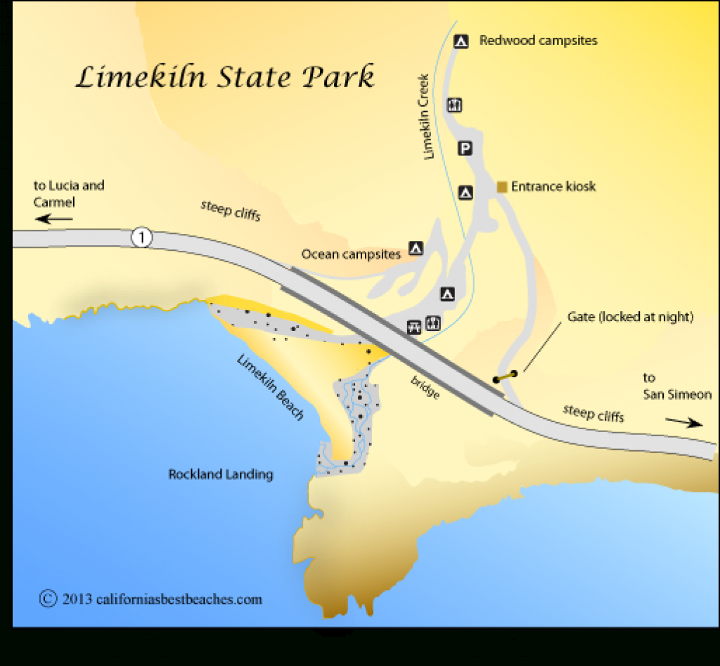 Limekiln Beach - California's Best Beaches inside Limekiln State Park Campground Map