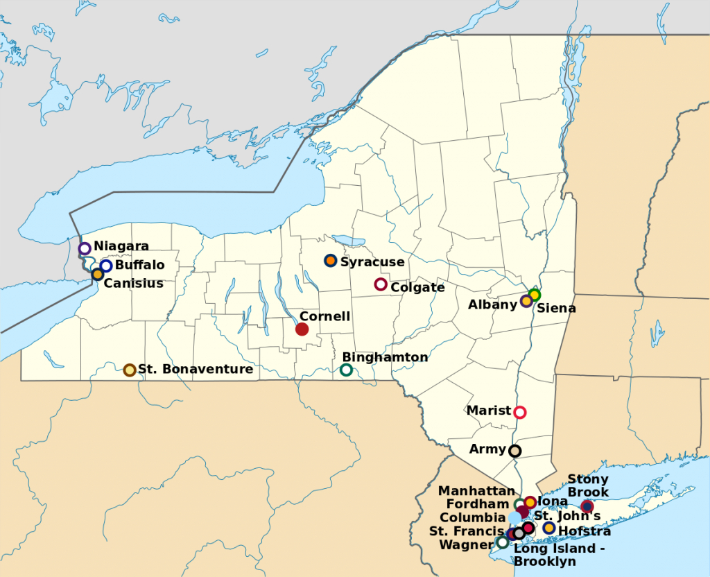 List Of College Athletic Programs In New York - Wikipedia in State University Of New York Map