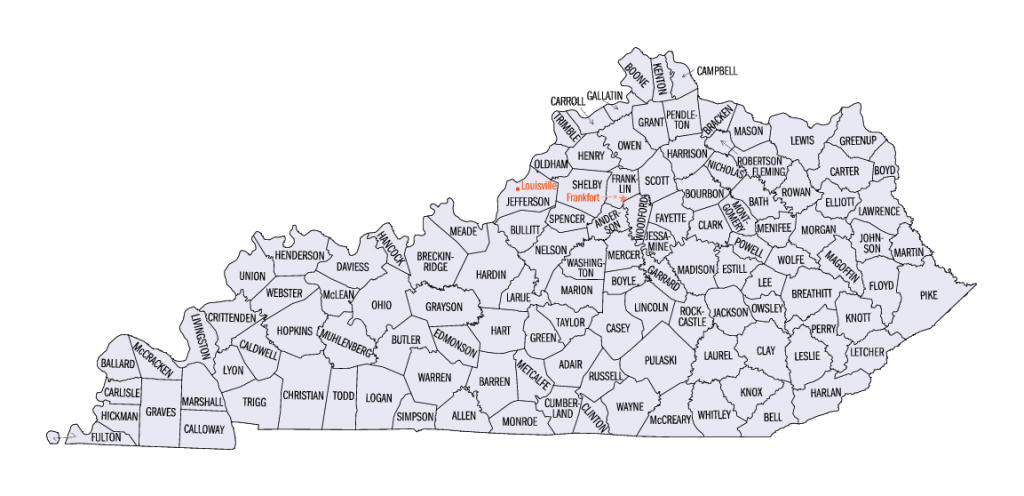 List Of Counties In Kentucky - Wikipedia throughout Kentucky State Map With Counties