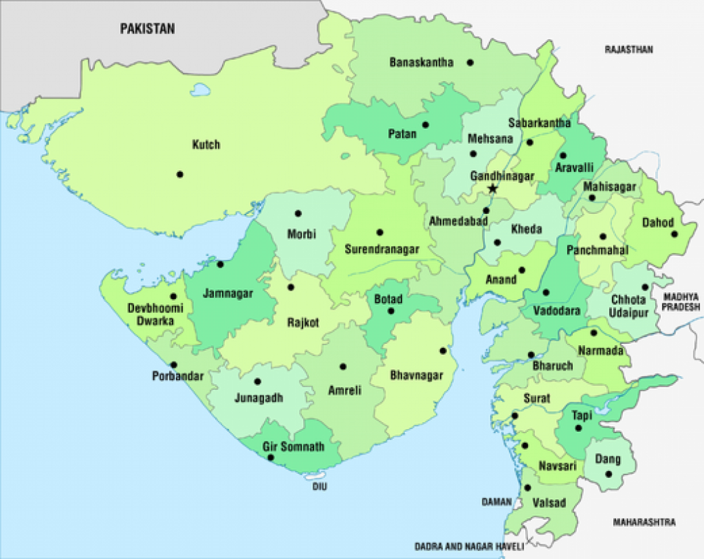 List Of Districts Of Gujarat - Wikipedia pertaining to Map Of Gujarat State District Wise