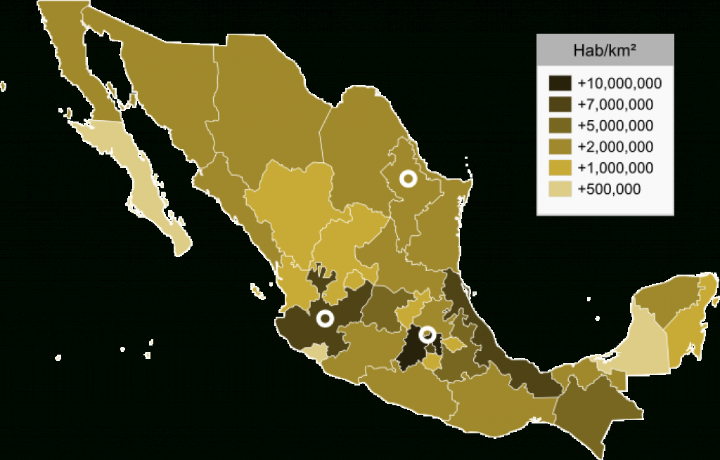 List Of Mexican Statespopulation - Wikipedia pertaining to Map Of Mexico And Its States