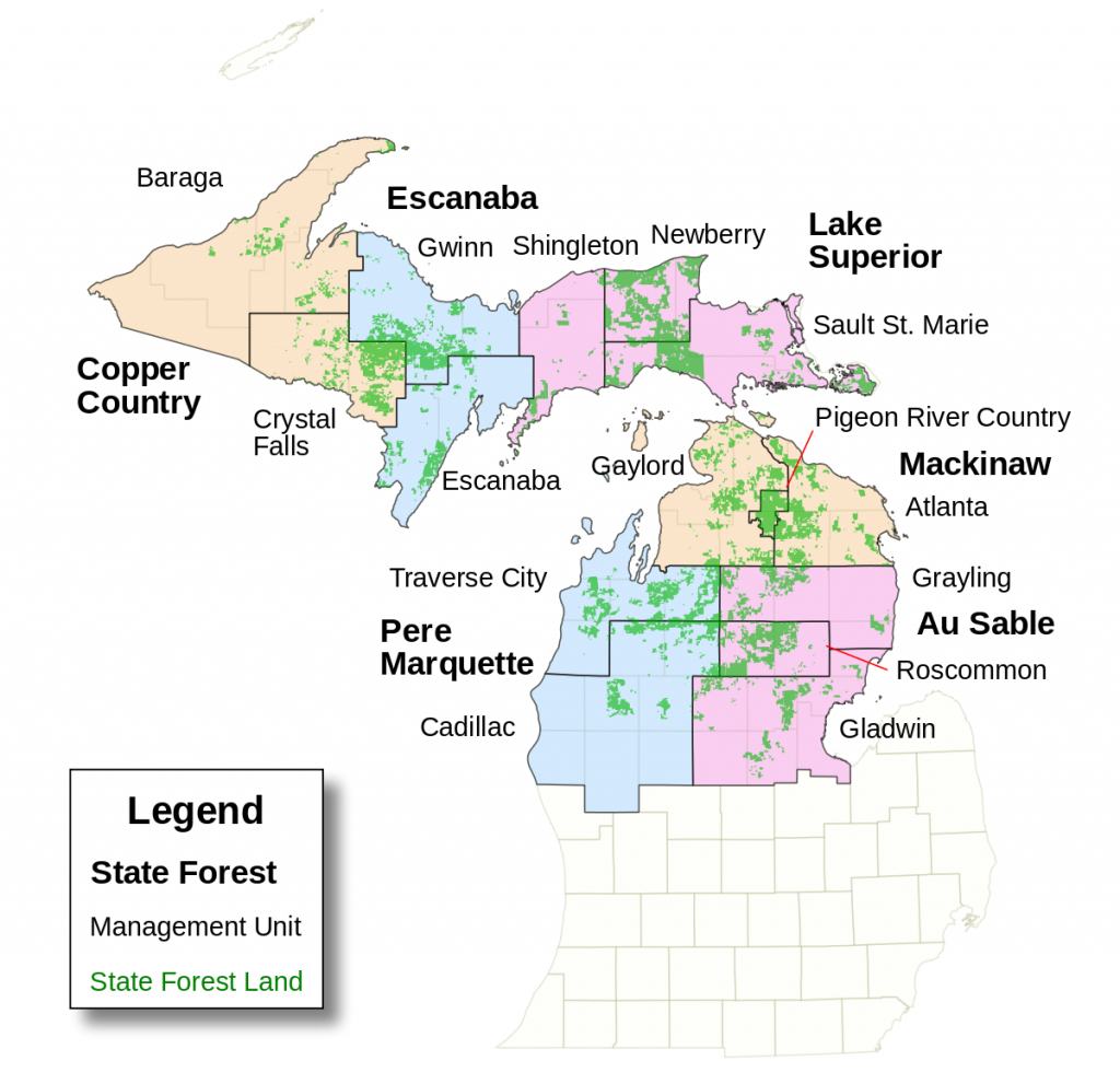 List Of Michigan State Forests - Wikipedia intended for Michigan State Forest Map