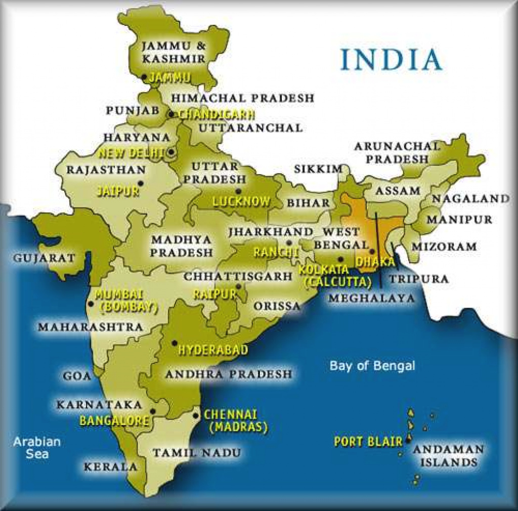 List Of States And Its Capitals In India |Virtual Kidspace intended for Capitals Of Indian States Map