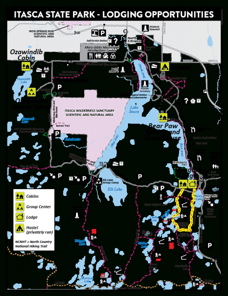 Lodging: Douglas Lodge Area Map - Minnesota Dnr - Mn Department Of with regard to Itasca State Park Trail Map