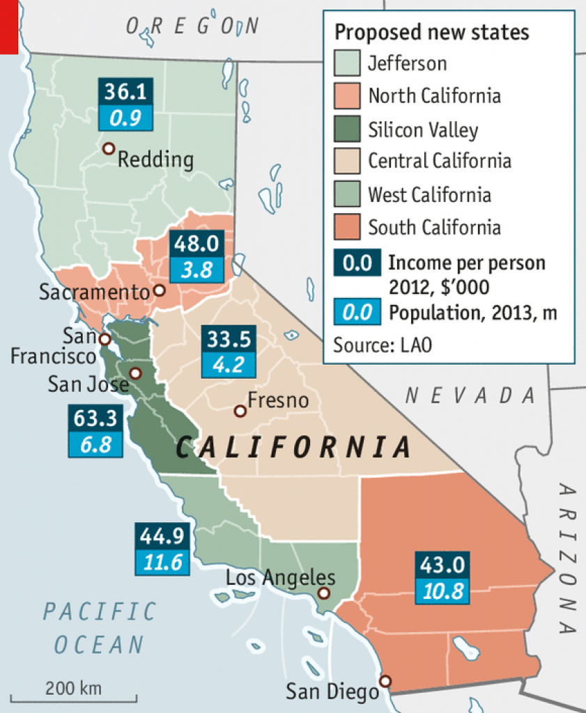 Long Division - Splitting Up California throughout Splitting California Into Two States Map
