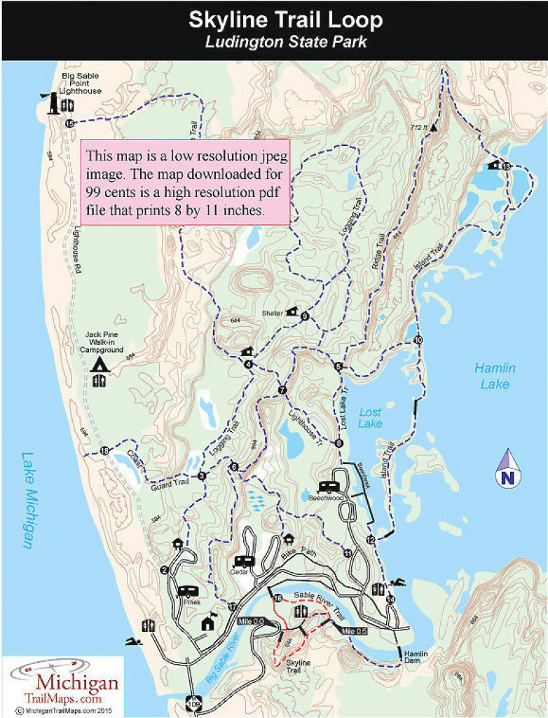 Ludington State Park: Skyline Trail Loop within Ludington State Park Trail Map