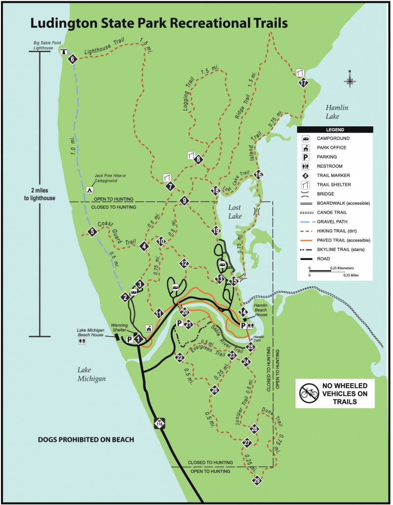 Ludington State Parkmaps & Area Guide - Shoreline Visitors Guide intended for Ludington State Park Trail Map