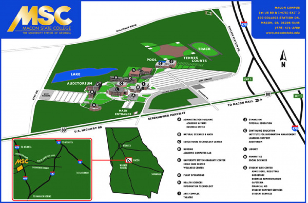 Macon State College Campus Map throughout Middle Georgia State University Campus Map
