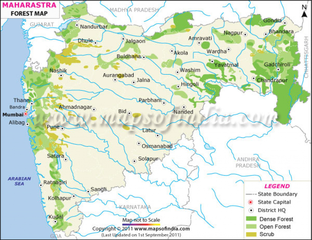 Maharashtra Forest Map inside Physical Map Of Maharashtra State