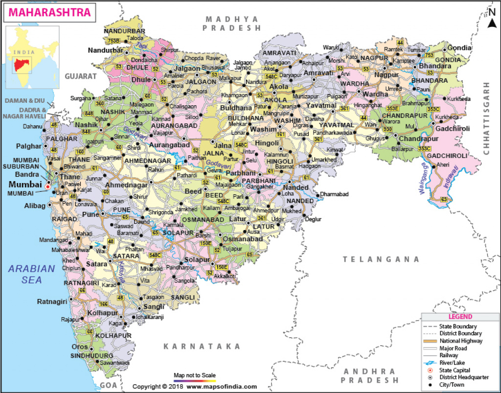 Maharashtra Map: State, Districts Information And Facts intended for Physical Map Of Maharashtra State