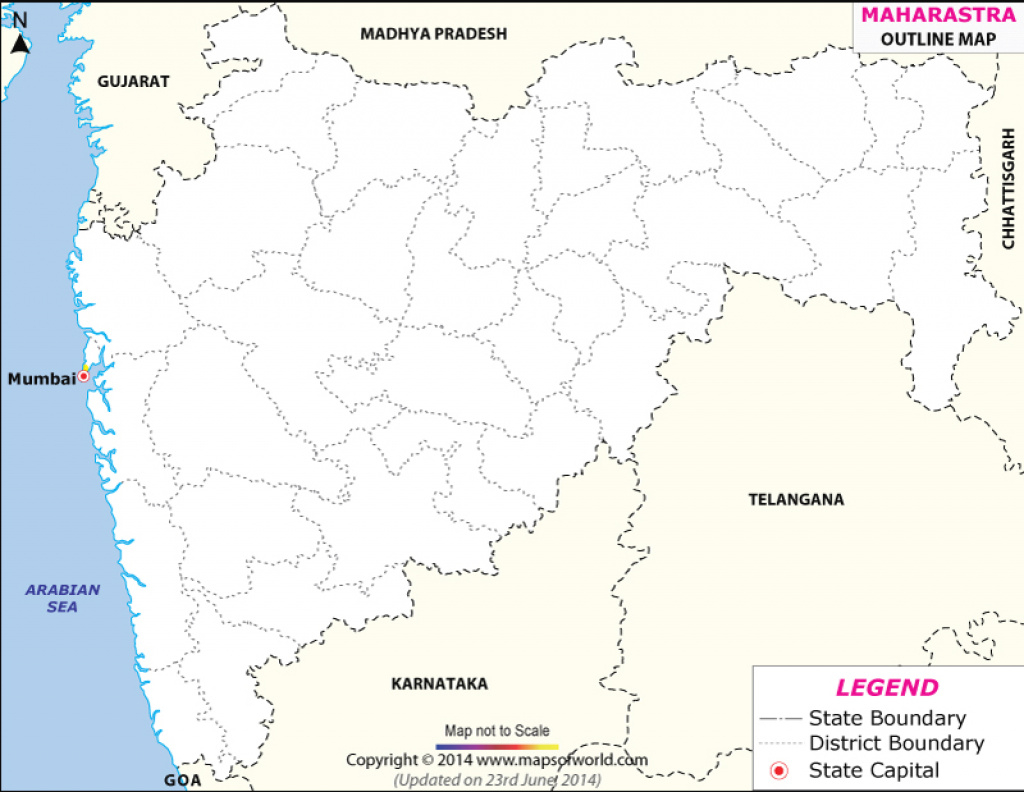 Maharashtra Outline Map with regard to Physical Map Of Maharashtra State