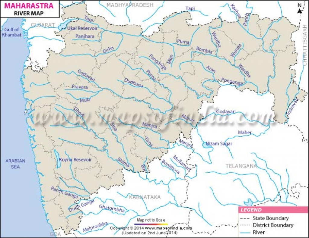 Maharashtra Rivers Map pertaining to Physical Map Of Maharashtra State