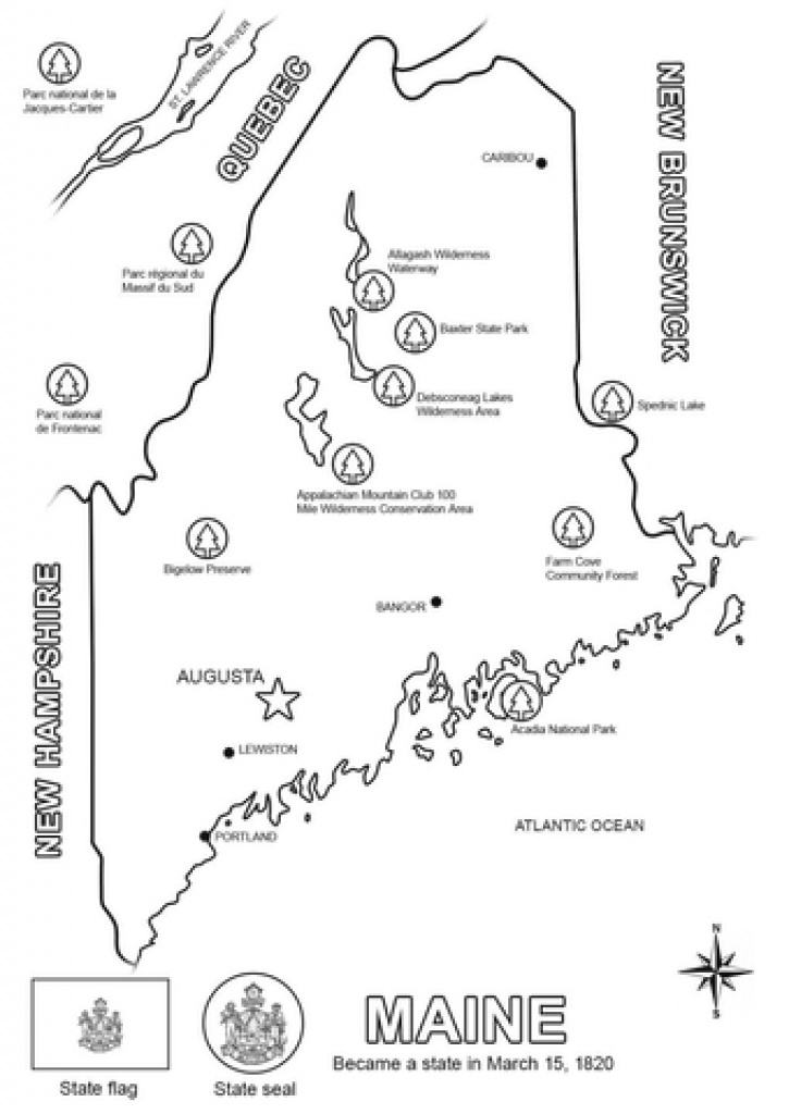 Maine Map Coloring Page | Free Printable Coloring Pages intended for Maine State Map Printable