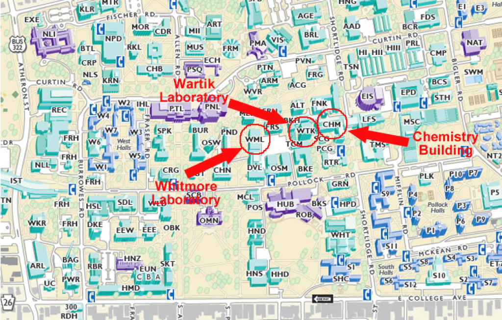 Map And Directions — Penn State University - Department Of Chemistry regarding Penn State University Park Campus Map