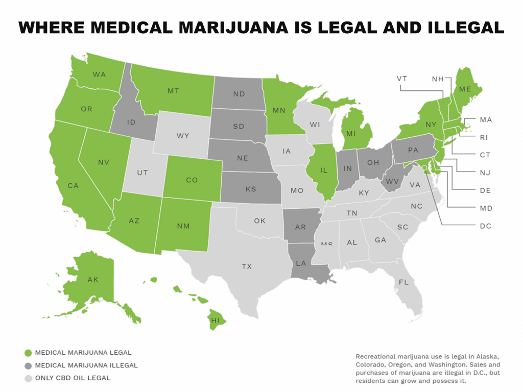 Map: Medical Marijuana Laws Statestate with States Where Weed Is Legal Map 2016