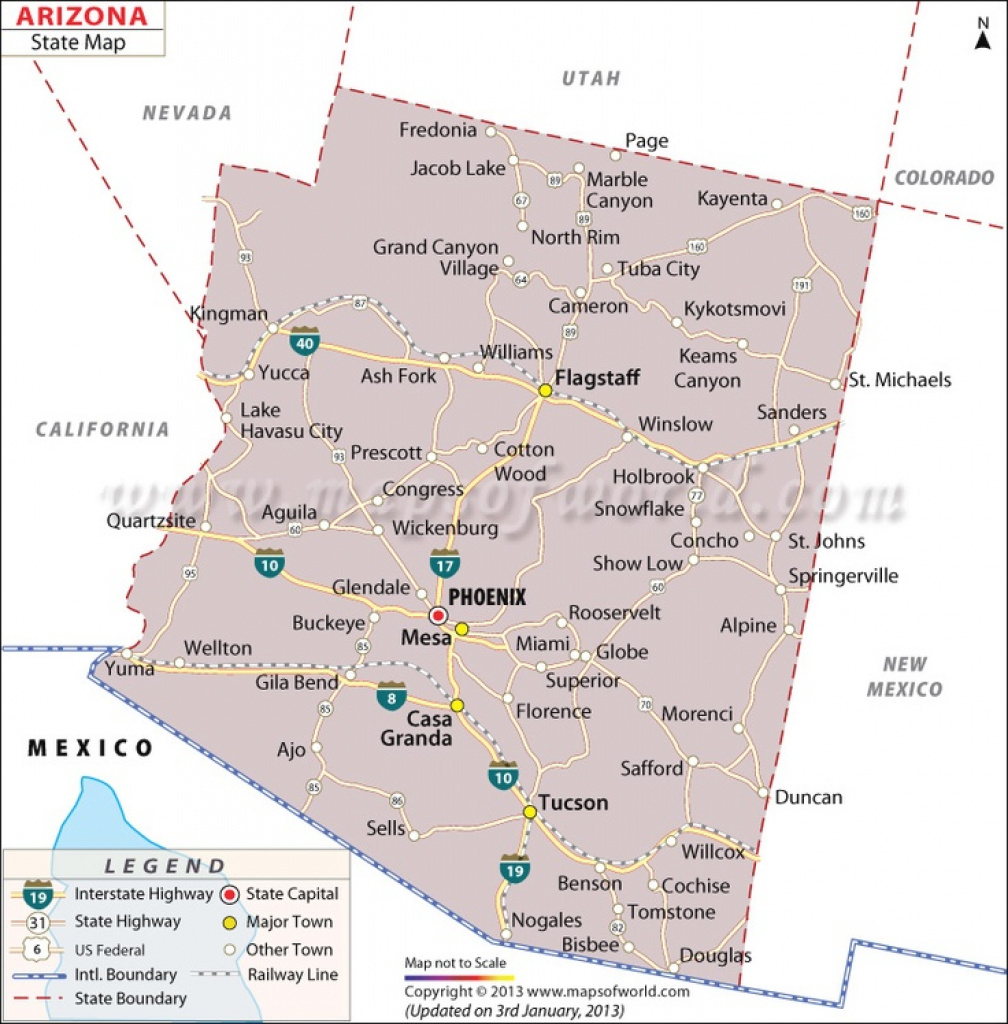 Map Of Arizona Counties And Major Cities And Travel Information inside Arizona State Map With Major Cities