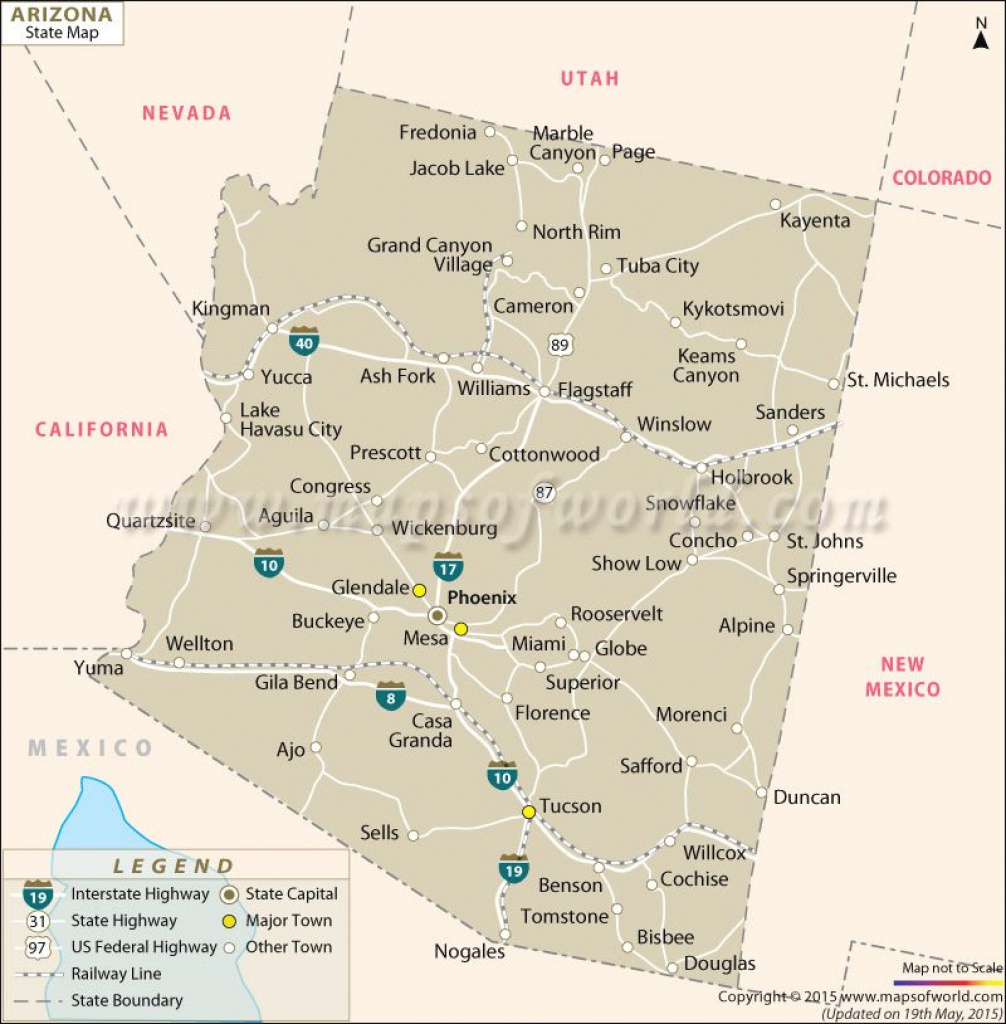 Map Of Arizona Counties And Major Cities And Travel Information intended for Arizona State Map With Major Cities