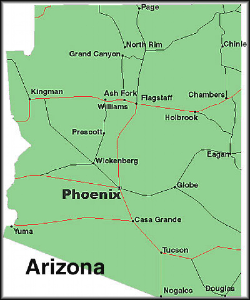 Map Of Arizona Towns And Travel Information | Download Free Map Of pertaining to Arizona State Map With Major Cities