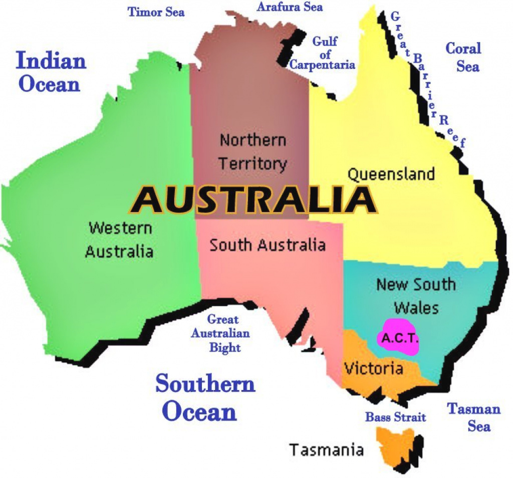 Map Of Australia Showing States pertaining to Map Of Australia With States And Major Cities