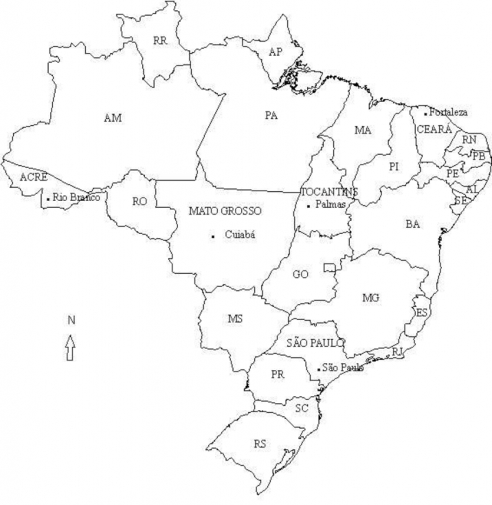 Map Of Brazil (Selected States And Cities Mentioned In The Text for Map Of Brazil States And Cities